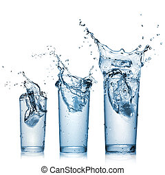 acqua, schizzo, in, occhiali, isolato, bianco