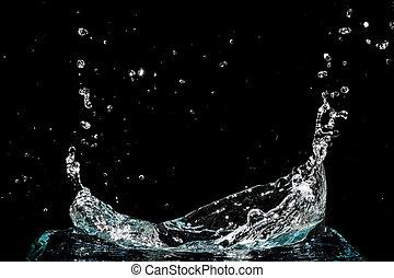 acqua, schizzo, nero, isolato, fondo
