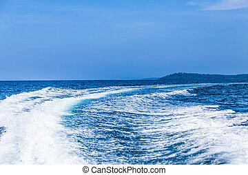acqua, scia, scia, barca