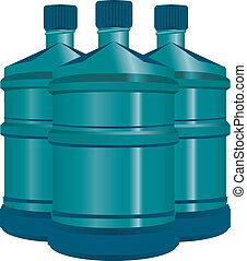 acqua, set, bottiglie, plastica