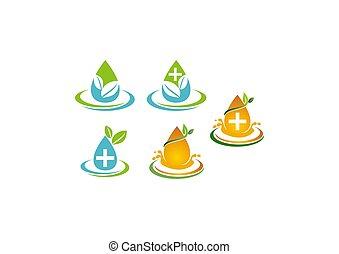 acqua, set, foglia, sagoma