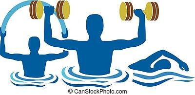 acqua, silhouette, ginnastica