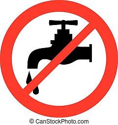 acqua, simbolo, rubinetto, no