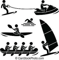 acqua, skurfing, sport, trasportando zattera, mare