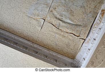 acqua, soffitto, stanza, danneggiato