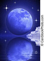 acqua, sopra, astratto, luna, nubi, un po', misterioso, stelle