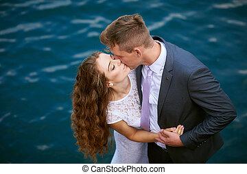 acqua, sposa, sposo, fondo, baciare