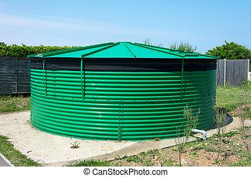 acqua, tank., magazzino, cilindrico