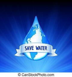 acqua, terra, concetto, risparmiare