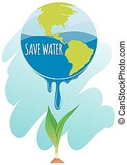 acqua, terra, pianta, risparmiare, tema