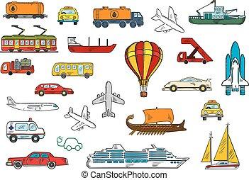 acqua, trasporto, strada, aria, simboli, ferrovia