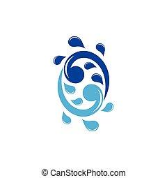 acqua, turbine, vettore, logotipo, schizzo, simbolo