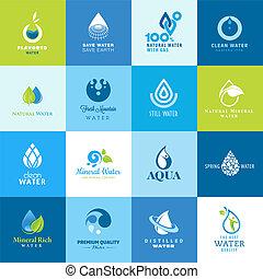 acqua, tutto, set, tipi, icone