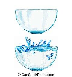 acqua, uno, acquarello, ciotole, set, due
