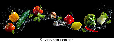 acqua, verdura, schizzo, sfondo nero
