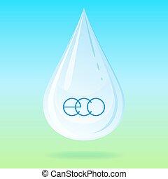 acqua, vettore, drop.