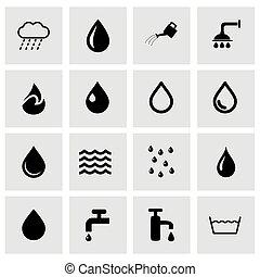 acqua, vettore, set, icona