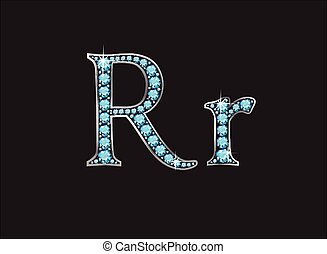 acquamarina, ingioiellato, font, rr