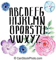 acquarello, alfabeto, stile, fiori, vendemmia