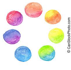 acquarello, arcobaleno, ci, set, vettore
