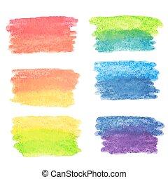 acquarello, arcobaleno, set, ba, vettore