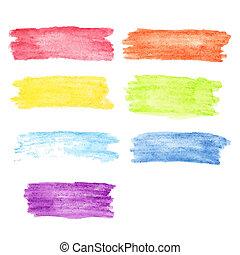 acquarello, arcobaleno, set, macchie