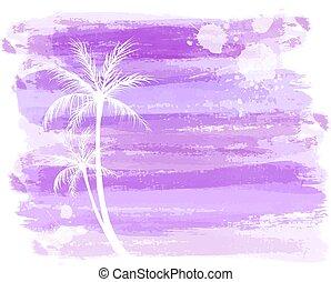 acquarello, astratto, palma, fondo, albero