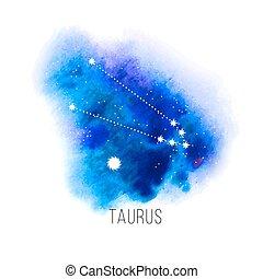 acquarello, astrologia, fondo, toro, segno