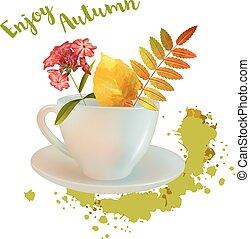 acquarello, autunno, composizione