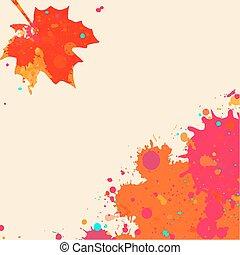 acquarello, autunno, cornice