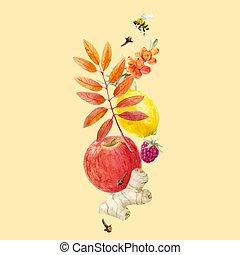 acquarello, autunno, vettore, floreale, composizione