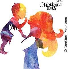 acquarello, baby., silhouette, lei, madre