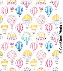 acquarello, baloon, aria, vettore, modello