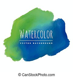 acquarello, blu, macchia, sfondo verde