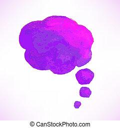 acquarello, bolla discorso, lilla