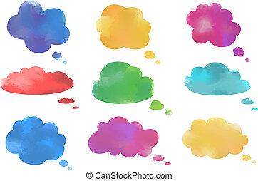 acquarello, bolle, discorso, nuvola, collezione