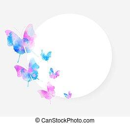 acquarello, butteflies, fondo