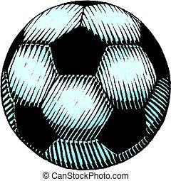 acquarello, calcio, schizzo, palla, inchiostro