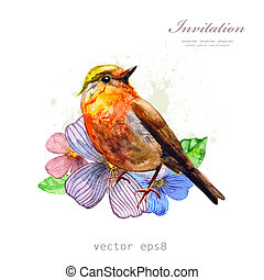 acquarello, carino, design., tuo, uccello