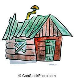 acquarello, casa, figura, isolato, tubo, sfondo verde, bianco, cartone animato, rosso
