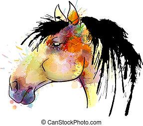 acquarello, cavallo, pittura, testa