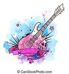 acquarello, chitarra, elettrico, fondo