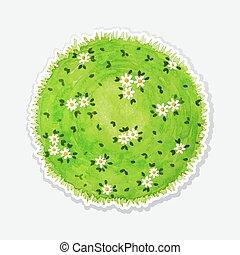 acquarello, come, pianeta, erba verde, rotondo, prato