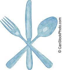 acquarello, cucchiaio, coltello, fork.