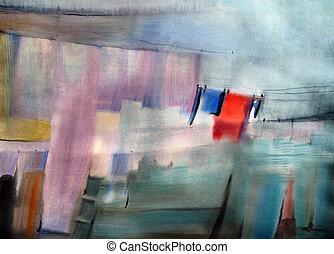 acquarello, dipinto, astratto, immagine