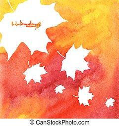 acquarello, dipinto, foglie, autunno, fondo, acero