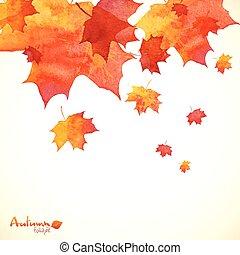 acquarello, dipinto, foglie, autunno, fondo, arancia, acero