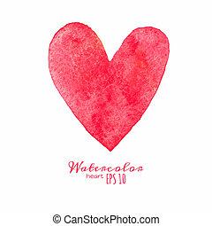 acquarello, dipinto, heart., rosso