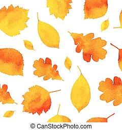 acquarello, dipinto, modello, foglie, seamless, autunno, arancia