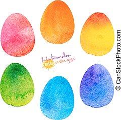 acquarello, dipinto, vettore, uovo di pasqua
